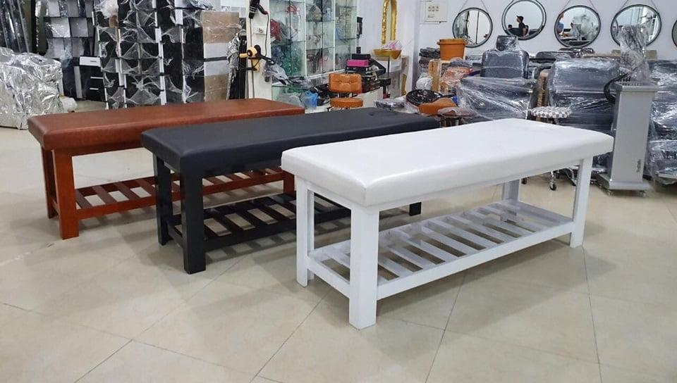 giường nối mi chân gỗ kết hợp cho dịch vụ massage