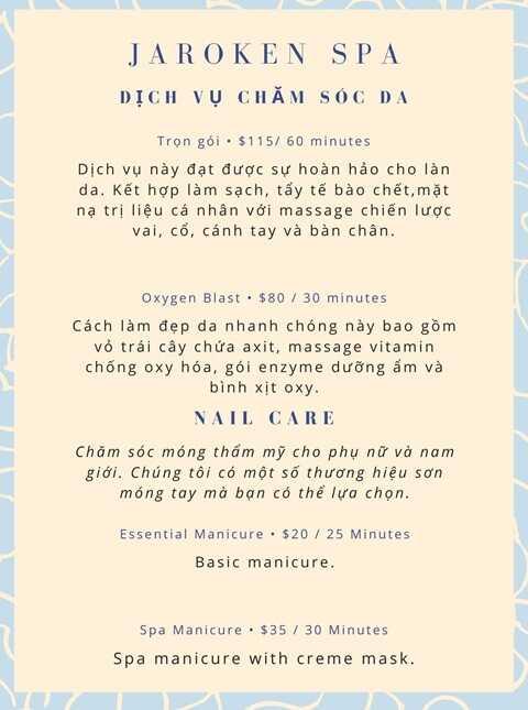 Mẫu menu bảng giá cho tiệm nail