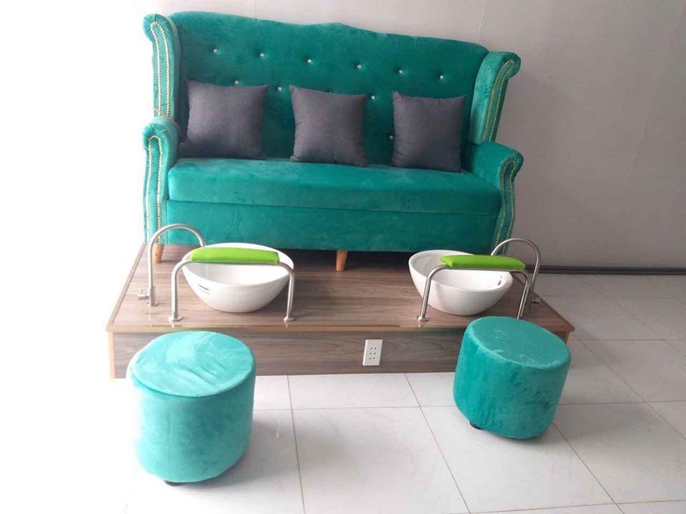 Mẫu sofa băng dài màu Xanh