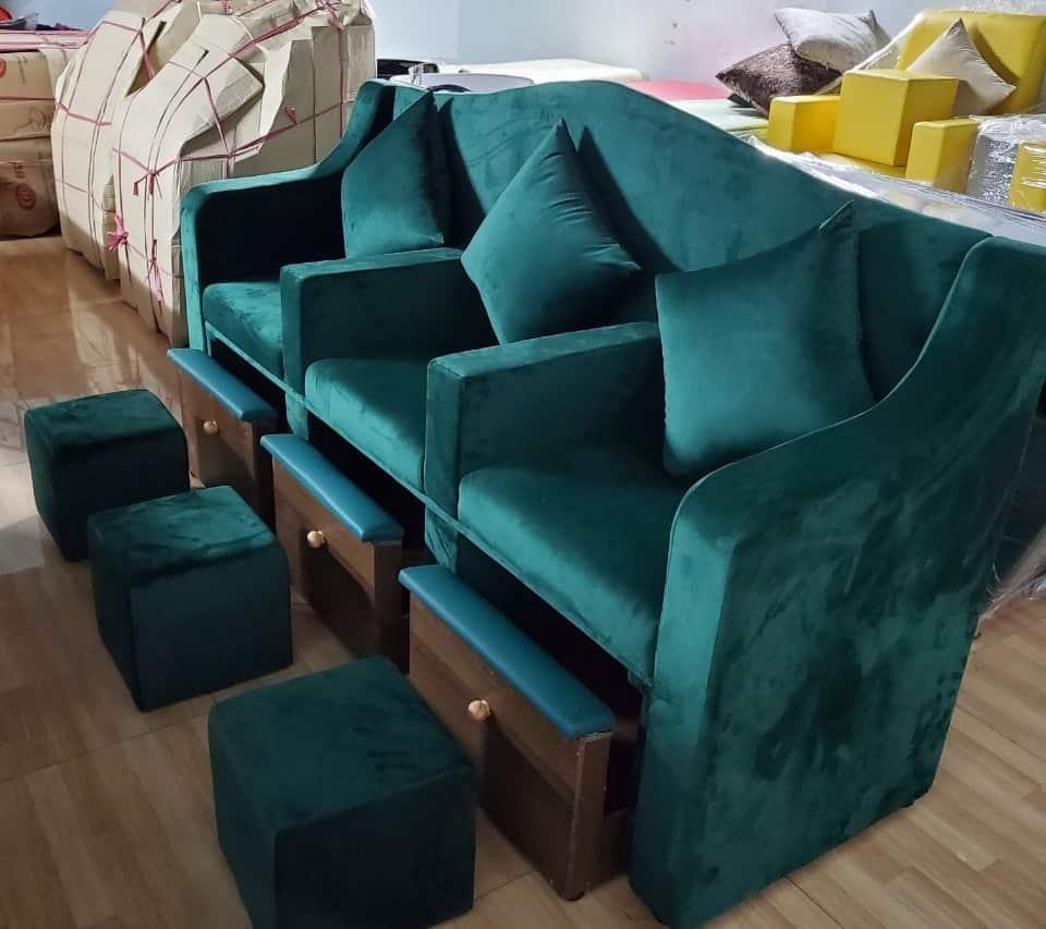 Ghế làm nails hộc kéo bọc nhung màu xanh