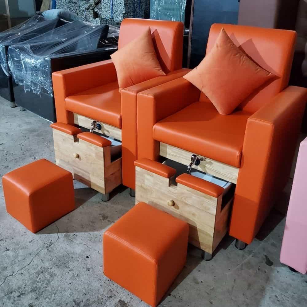 Ghế nails hộc kéo bồn khung gỗ cao su