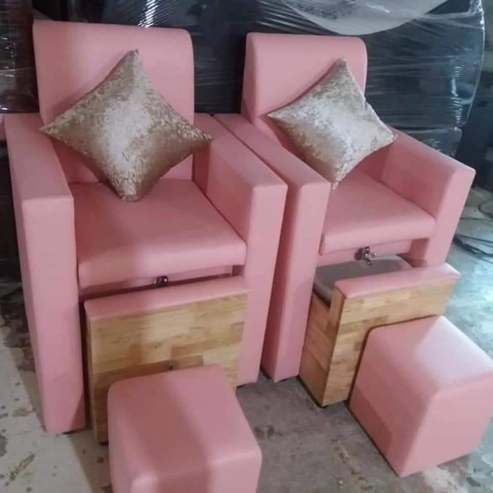 Ghế Nail Hộc Kéo màu hồng